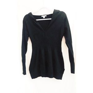 Black hoodie long sleeve ribbed middle & cuffs